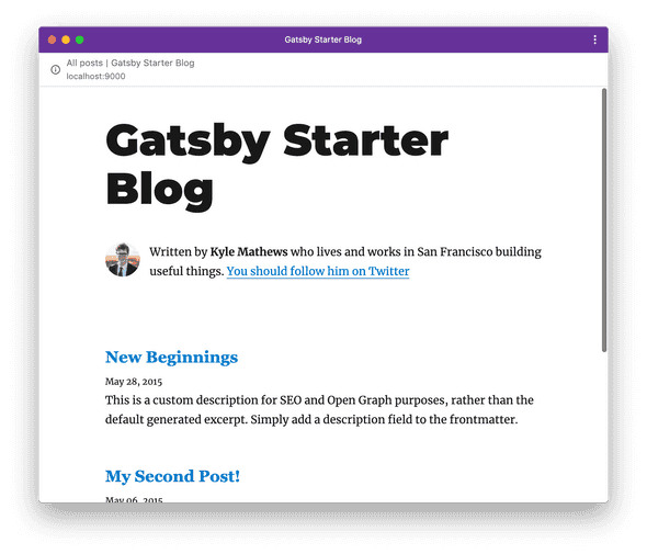 Gatsby site running as an application